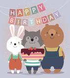 Nette Alles Gute Zum Geburtstagkarte Mit Lustigen Tieren Hase