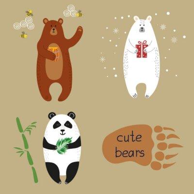Fototapete Nette Bären gesetzt. Sammlung von Cartoon-Vektor-Illustrationen von Braunbären, Eisbären und Panda.