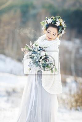 Nette Braut Mit Einem Bouquet Winter Hochzeit Bouquet Fototapete