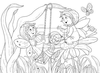 Nette feen. märchen. malbuch. malvorlage. illustration für kinder