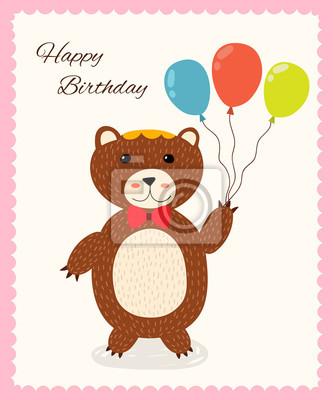 Nette glückliche Geburtstagsgrußkarte mit einem Spaßbären in einer roten Fliege. Abbildung