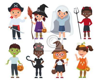 Nette halloween-kinder eingestellt. cartoon-vektor-illustration ...