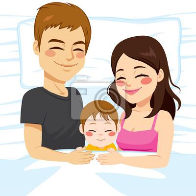 Nette Junge Kleine Familie Von Vater Mutter Und Baby Sohn Zusammen