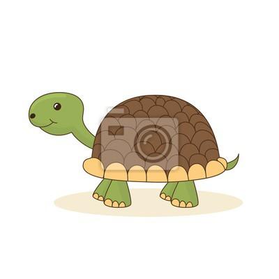 Nette Karikatur Schildkröte isoliert auf weißem Hintergrund. Abbildung