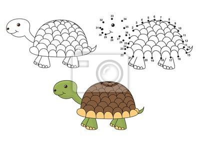 Nette Karikaturschildkröte. Färben und punktieren pädagogisches Spiel für Kinder. Abbildung