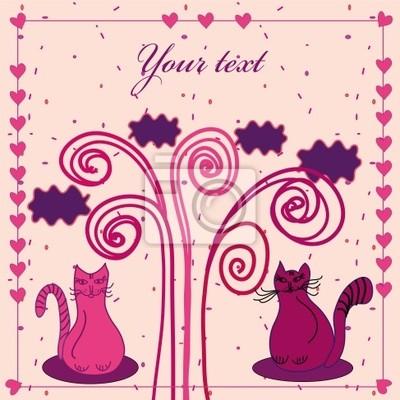 Nette Karte mit Katzen in der Liebe