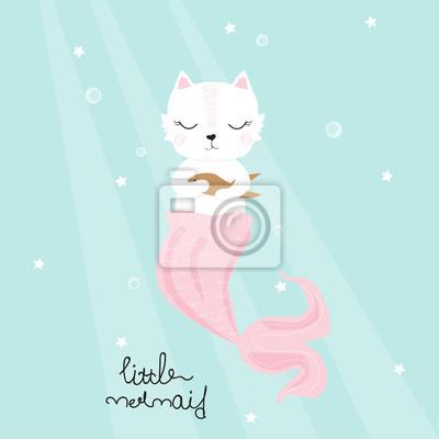 Fototapete Nette Katzenmeerjungfrau mit goldenem Fisch. Kindisch drucken. Gezeichnete Illustration des Vektors Hand.