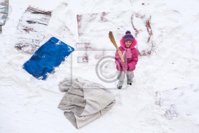 Nette Kleine Madchen Reinigung Matten Und Teppichen Mit Einem