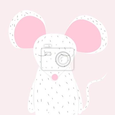 Fototapete Nette kleine weiße Maus. Vektor Hand gezeichnet Illustration.
