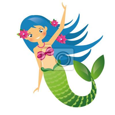 Fototapete Nette Meerjungfrau Charakter In Cartoon Stil Blaue Haare Undine