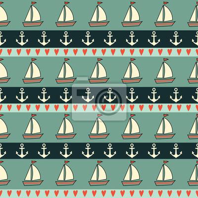 Fototapete Nette nautischen Hintergrund Jahrgang. Navy Vektor nahtlose Muster: Anker, Segelboot, Herz. Meerestiere Hintergrund Collection. Retro-Farben Baby-Dusche-Vektor-Illustration.