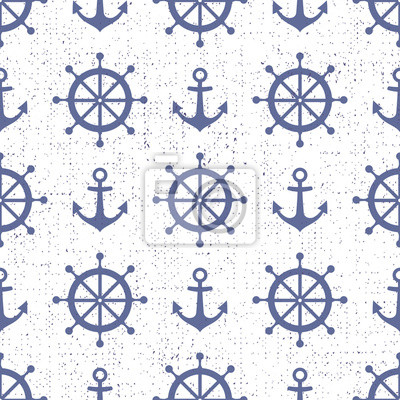 Fototapete Nette nautischen Hintergrund. Navy Vektor nahtlose Muster