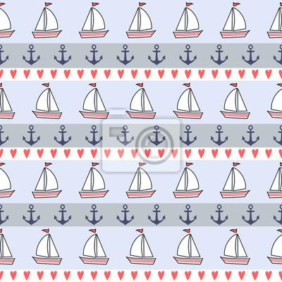 Fototapete Nette nautischen Hintergrund. Navy Vektor nahtlose Muster: Anker, Segelboot, Herz. Meerestiere Hintergrund Collection. Baby-Dusche-Vektor-Illustration.
