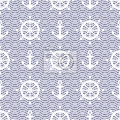 Fototapete Nette nautischen Hintergrund. Navy Vektor nahtlose Muster: Anker, Wellen und Lenkrad.