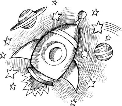 Fototapete Nette Outer Space Rocket-Sketch Vector