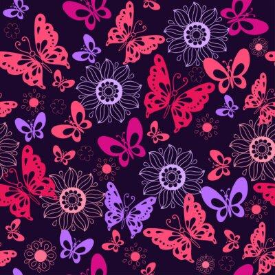 Fototapete Nette rosa Schmetterlinge auf einem blauen Hintergrund. Nahtlose Muster von Blumen und Schmetterlingen. Vektor-Illustration