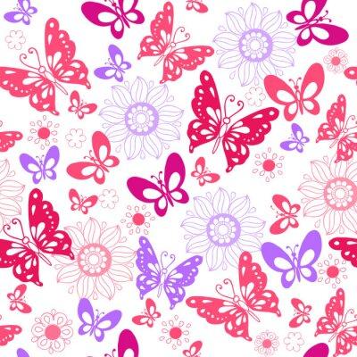 Fototapete Nette rosa Schmetterlinge auf einem weißen Hintergrund. Nahtlose Muster von Blumen und Schmetterlingen. Vektor-Illustration
