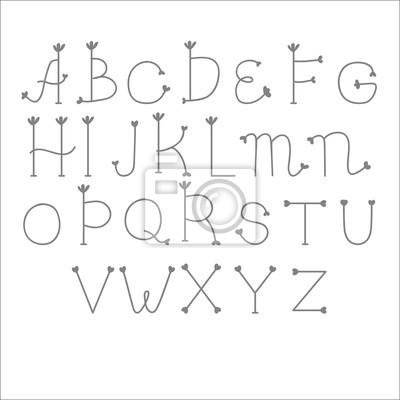 Nette Schöne Schriftart Englisches Alphabet Hand Gezeichnet