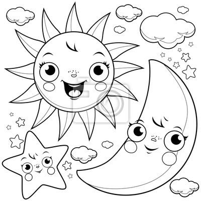 Nette Sonne Mond Sterne Und Wolken Schwarz Weiß Malvorlage