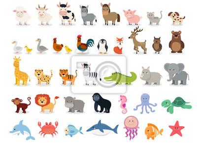 Fototapete Nette Tieransammlung: Vieh, wilde Tiere, Jachthafentiere lokalisiert auf weißem Hintergrund. Illustration Entwurfsvorlage