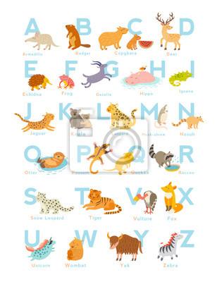 Nette Vektor-Zoo-Alphabet. Lustige Karikaturtiere. Vektor-Illustration EPS10 isoliert auf weißem Hintergrund. Briefe. Lesen lernen
