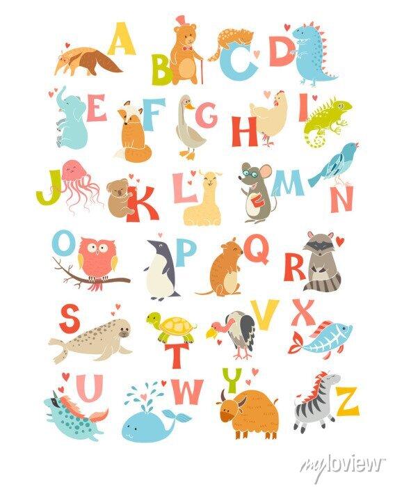 Fototapete Nette Vektor-Zoo-Alphabet. Lustige Karikaturtiere. Vektor-Illustration EPS10 isoliert auf weißem Hintergrund. Briefe. Lesen lernen