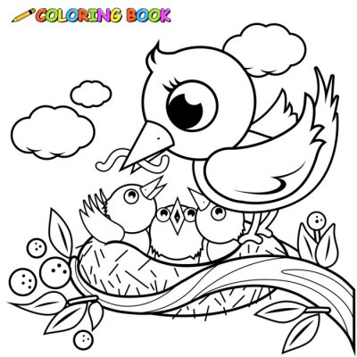 Fototapete Nette Vögel Im Nest Ausmalbilder Buch Seite