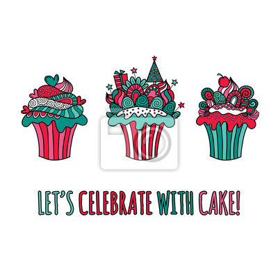 Nette weihnachten motto cup cakes doodle vektor-illustration ...