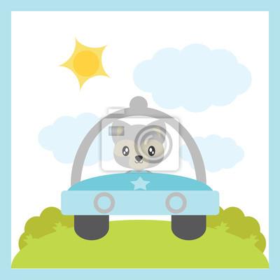 Netter baby-waschbär fährt eine auto-vektor-karikaturillustration ...