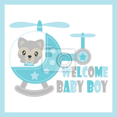 Netter baby-waschbär fliegt mit hubschrauber-vektor ...
