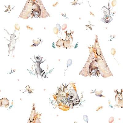Fototapete Netter Familienbaby Raccon, Rotwild und Häschen. Tierkindergartengiraffe und Bär lokalisierten Illustration. Aquarell boho Raccon Zeichnung Kinderzimmer nahtlose Muster. Kinder Hintergrund, Kindergart