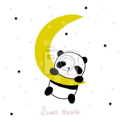 Fototapete Netter kleiner Panda auf dem Mond mit Beschriftung. Gezeichnete Illustration des Vektors Hand.