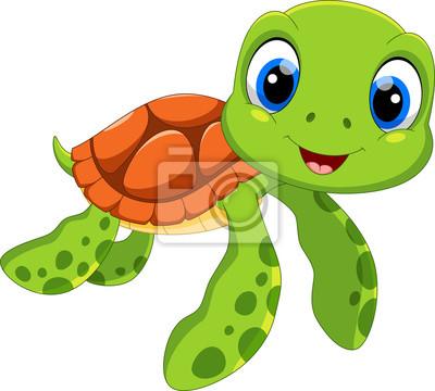 Fototapete Netter Meeresschildkrötenkarikatur lokalisiert auf weißem Hintergrund