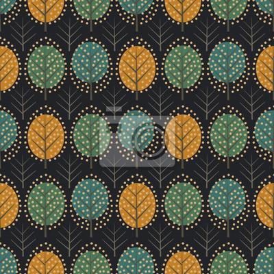 Fototapete Netter Naturhintergrund mit bunten Blättern. Herbstwald Vektor-Illustration. Design für Textilien, Tapeten, Stoff.