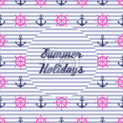 Fototapete Netter Sommerurlaub Vektor-Karte. Navy vector Meer Muster: Anker, Lenkrad. Nautical Hintergrund. Meerestiere Sammlung. Baby-Dusche-Illustration.