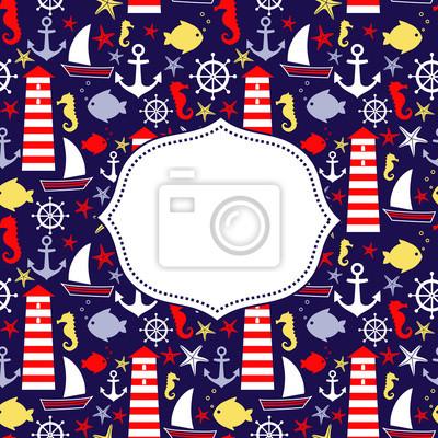 Fototapete Netter Sommerurlaub Vektor-Karte. Navy vector seamless sea pattern: Segelboot, Leuchtturm, Möwe, Fisch, Anker, Seepferdchen. Nautical Hintergrund. Meerestiere Sammlung. Baby-Dusche-Illustration.
