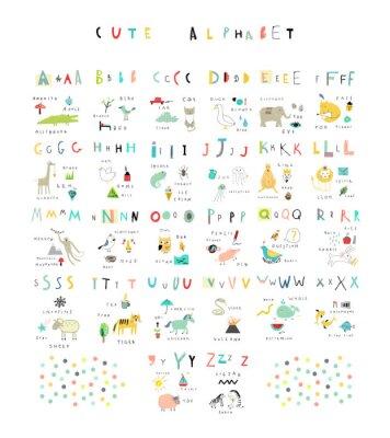 Nettes Alphabet. Briefe und Wörter. Flora, Fauna, Tiere.