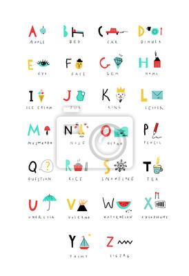 Nettes Alphabet. Briefe und Wörter. Lesen lernen. Isoliert.