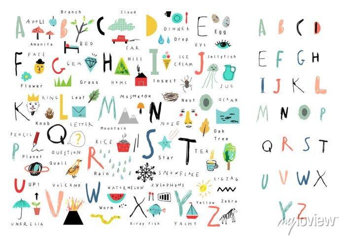 Fototapete Nettes Alphabet. Briefe und Wörter. Lesen lernen. Isoliert.