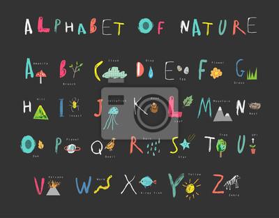 Nettes Alphabet der Natur. Briefe, Naturereignisse, Flora und Fauna