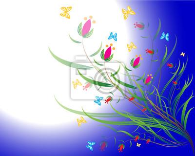 Nettes Blumen auf blauem Hintergrund