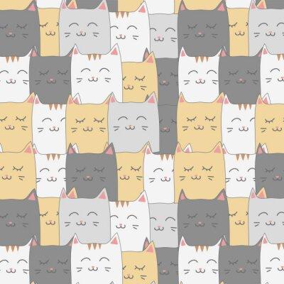 Fototapete Nettes entzückendes Katzenkätzchen nahtloses Musterhintergrundtapete