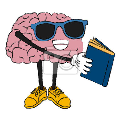 Nettes Gehirn Lese-Cartoon-Symbol Vektor-Illustration Grafik-Design
