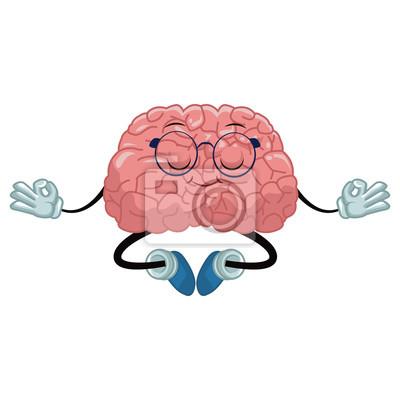 Nettes Gehirn meditieren Cartoon-Symbol Vektor-Illustration Grafik-Design