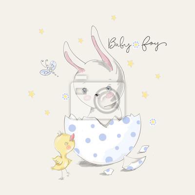 Nettes häschen und küken mit baby-slogan. vector baby illustration ...