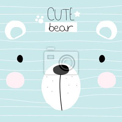 Fototapete Nettes kleines Bärngesicht mit Beschriftung. Kindisch drucken. Gezeichnete Illustration des Vektors Hand.