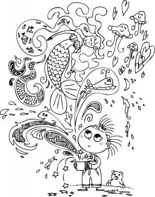 Fototapete Nettes kleines Mädchen, das eine magische Box mit einer Meerjungfrau