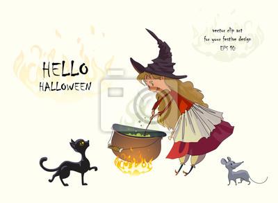 Nettes kleines mädchen eine hexe kocht einen trank in einem kessel ...