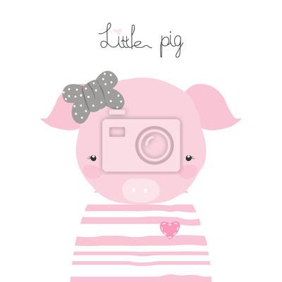 Fototapete Nettes kleines Schwein mit Bogen und Beschriftung. Gezeichnete Illustration des Vektors Hand.