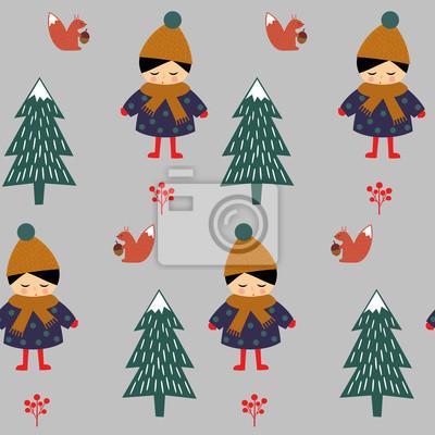 Fototapete Nettes Mädchen mit Eichhörnchen zu Fuß im Winter Wald nahtlose Muster auf grauem Hintergrund. Weihnachten skandinavischen Stil Natur Illustration. Winterwald mit Baby-Design für Textil-, Tapeten, Stof